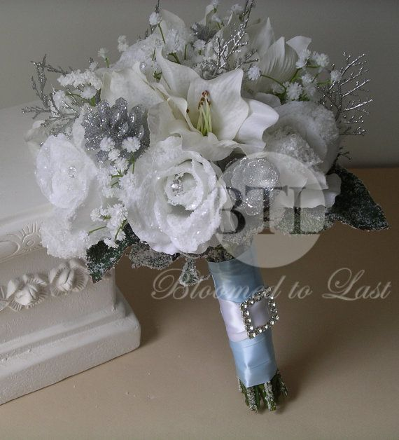 Winter Wedding BOUQET & BOUTONNIERE SET in White, Silver and Glacier ...