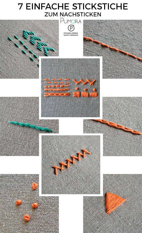 Stickstiche Schritt für Schritt erklärt - 7 Sticktutorials - Pumora