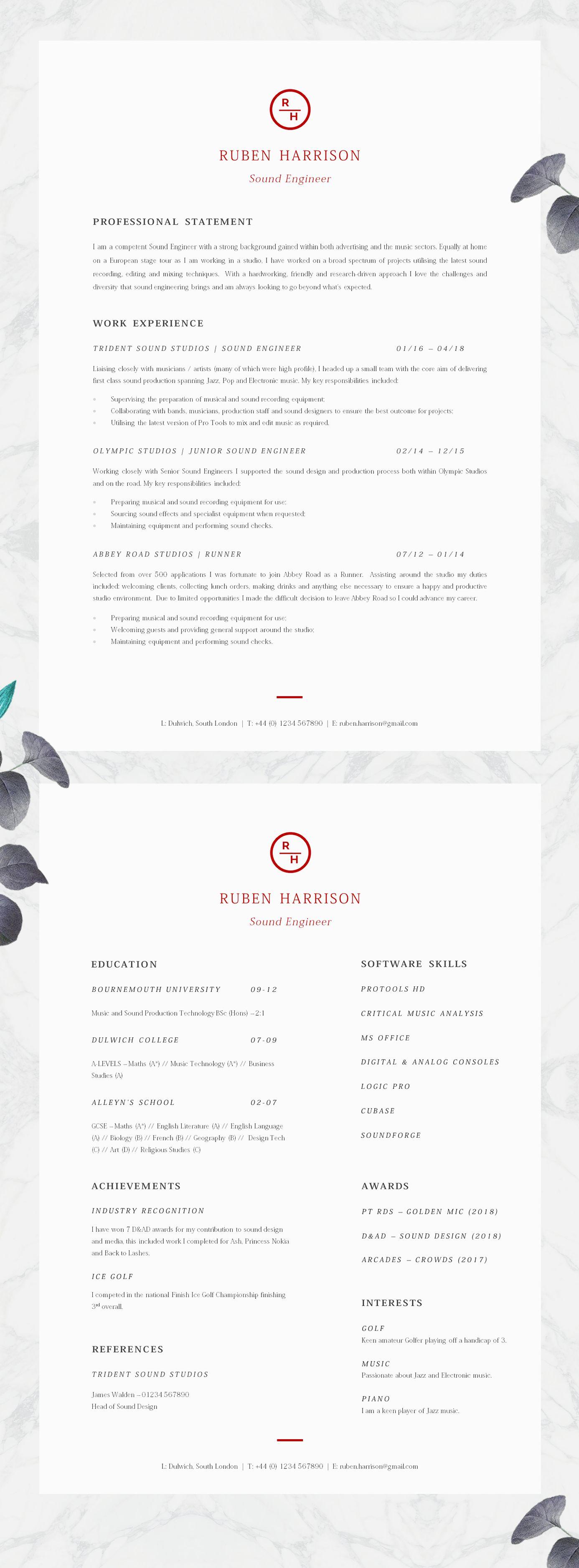 Simple Cv Template Professional Resume Template Etsy Resume Template Professional Cv Template Modern Resume Template