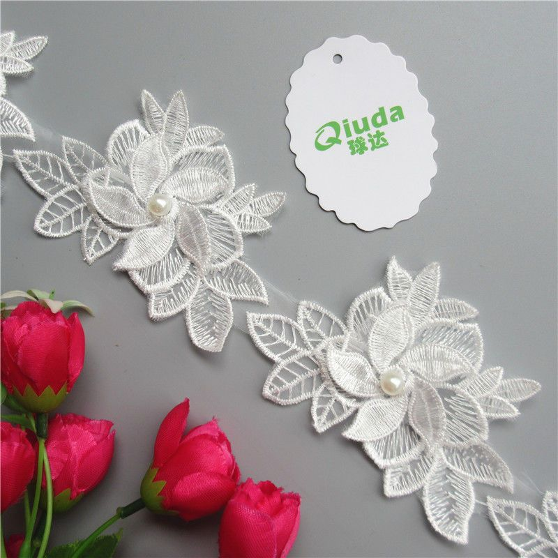 Embroidered Flower Applique Ribbon Trim DIY Handicrafts Headband Embellishment