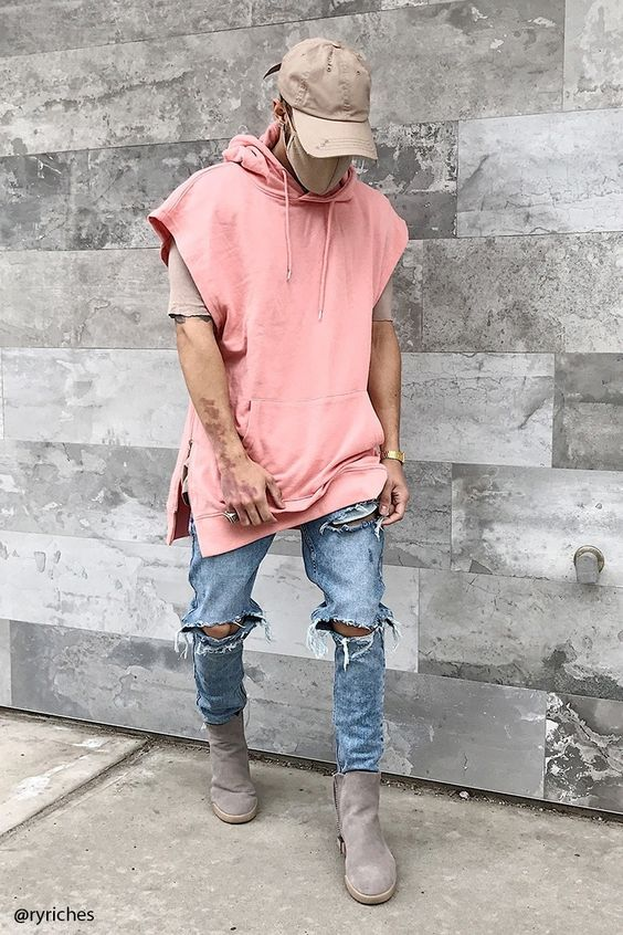 Trendyswagger.com mens ripped jeans swagger ideas. Male model wearing a  beige cap 806108fd976a