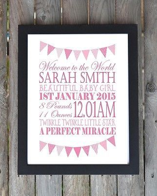 Birth newborn new baby #christening #personalised word art print #picture gift,  View more on the LINK: http://www.zeppy.io/product/gb/2/262524265624/
