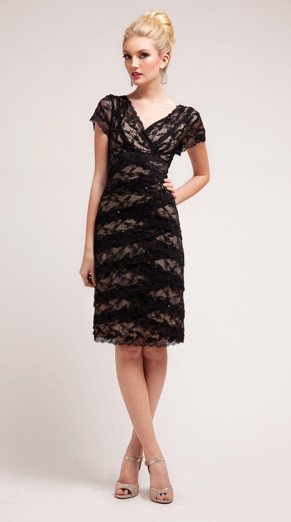 Vintage Knee Length Black Semi Formal Dress V Neck Short Sleeve Sophisticated Cocktail Dress