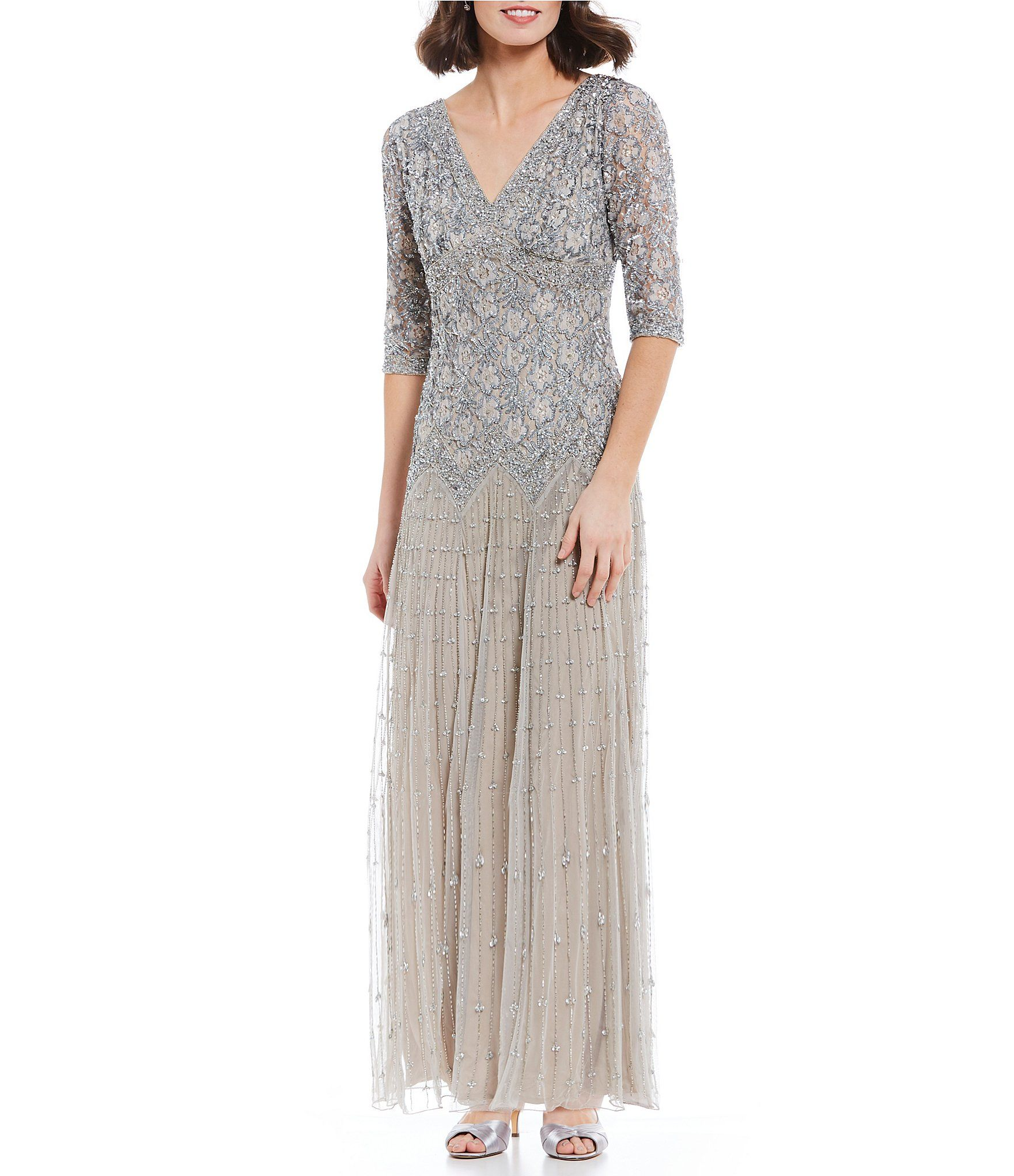 Pisarro nights beaded lace gown beaded lace dillards and clothing