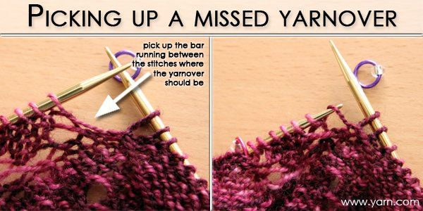 Knitting Lace Tip - When you miss making a yarnover, tip on our to create it without ripping back your work. When you get to the point where there should be a yarnover, simply pick up the bar between the two stitches and purl it – instant fix