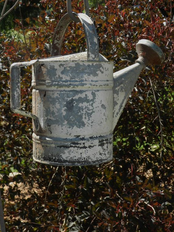Vintage Galvanized Metal Fence Top Finial Fence Post: Antique Chippy Galvanized Metal Watering Can