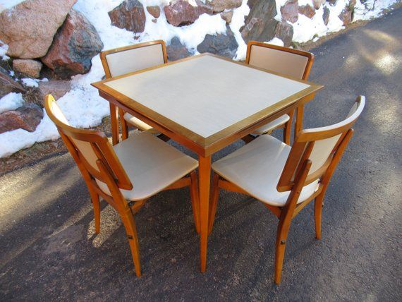 Midcentury Folding Table And Chairs By Stakmore Stakmore