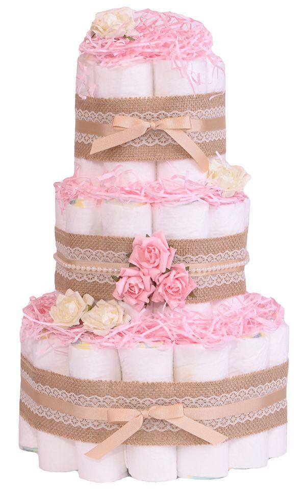 Nappy Cake Baby Shower Part - 26: Vintage Shabby Chic Rose Pink Baby Nappy Cake - Hamper Gift