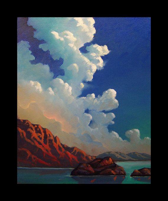 Landscape Art Painting Modern Impressionism Tonalist Mountain sky Clouds Vintage Hawkins Oil Original