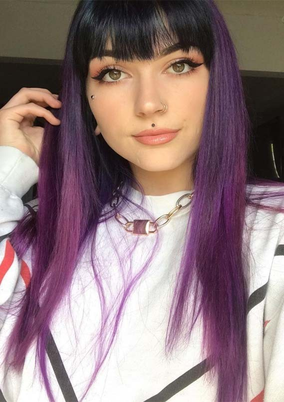Awesome Purple Hair Styles Colors With Bangs For 2019 Stylesmod Purple Hair Streaks Hair Streaks Purple Hair