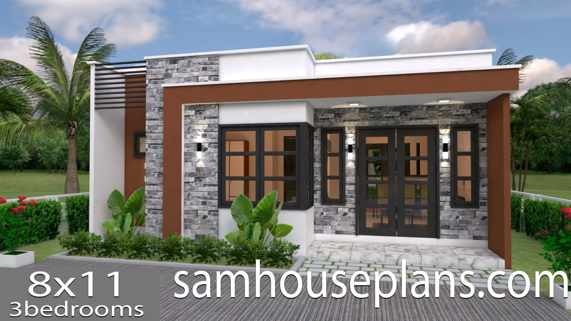 House Plans 8x11 with 3 bedrooms Full Plans in 2020 | House plans ...