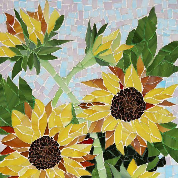 Girasoles Mosaicos Flores Decoracion De Mosaico De La Pared