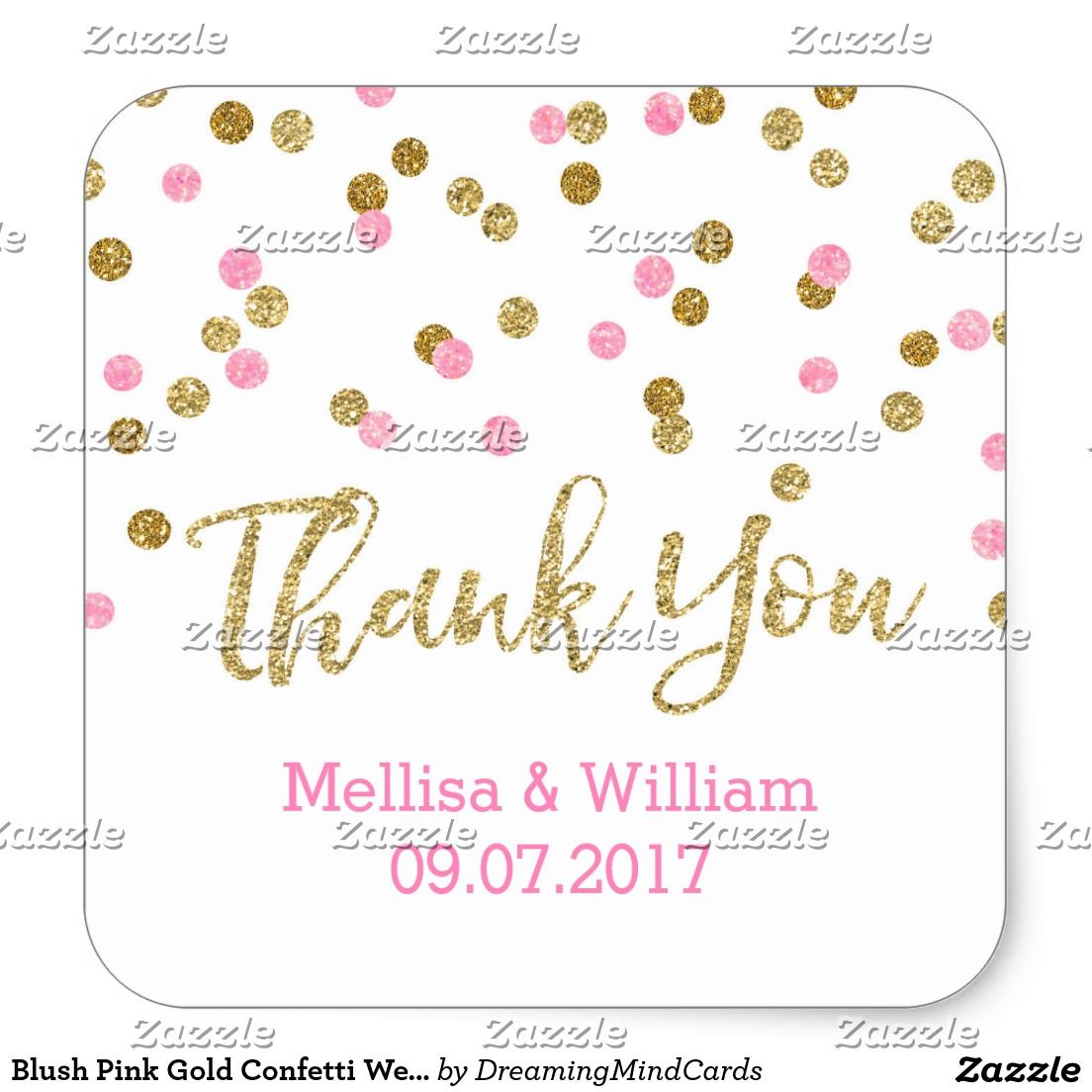 Blush Pink Gold Confetti Wedding Favor Tags | Wedding favor tags ...