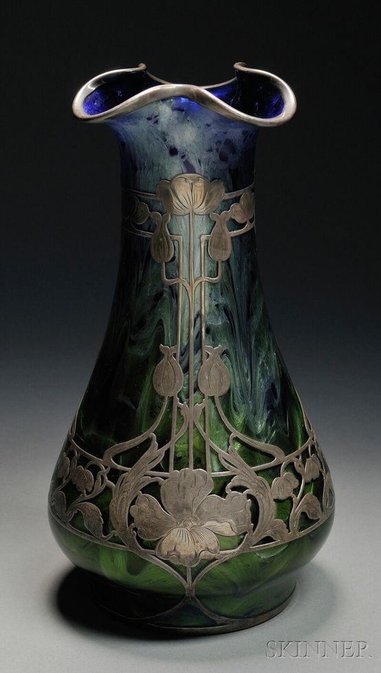 186 Loetz Titania Silver Overlay Vase Art Glass And On