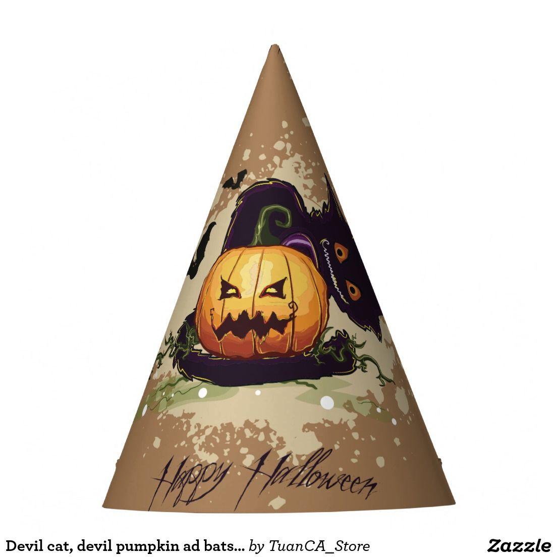 Devil cat, devil pumpkin ad bats Happy Halloween