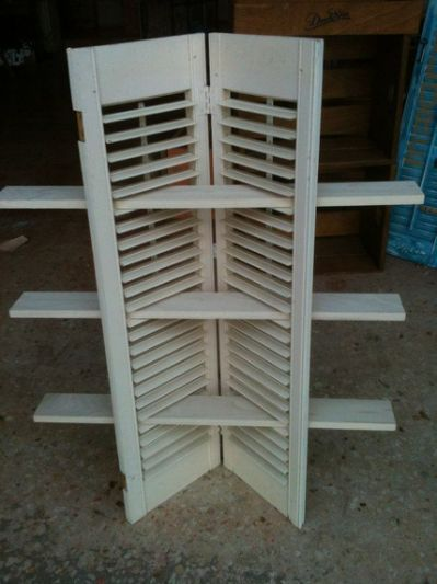 Corner Shelves Made Out Of Shutters Craft Show Displays Jewerly Displays Shutter Shelf