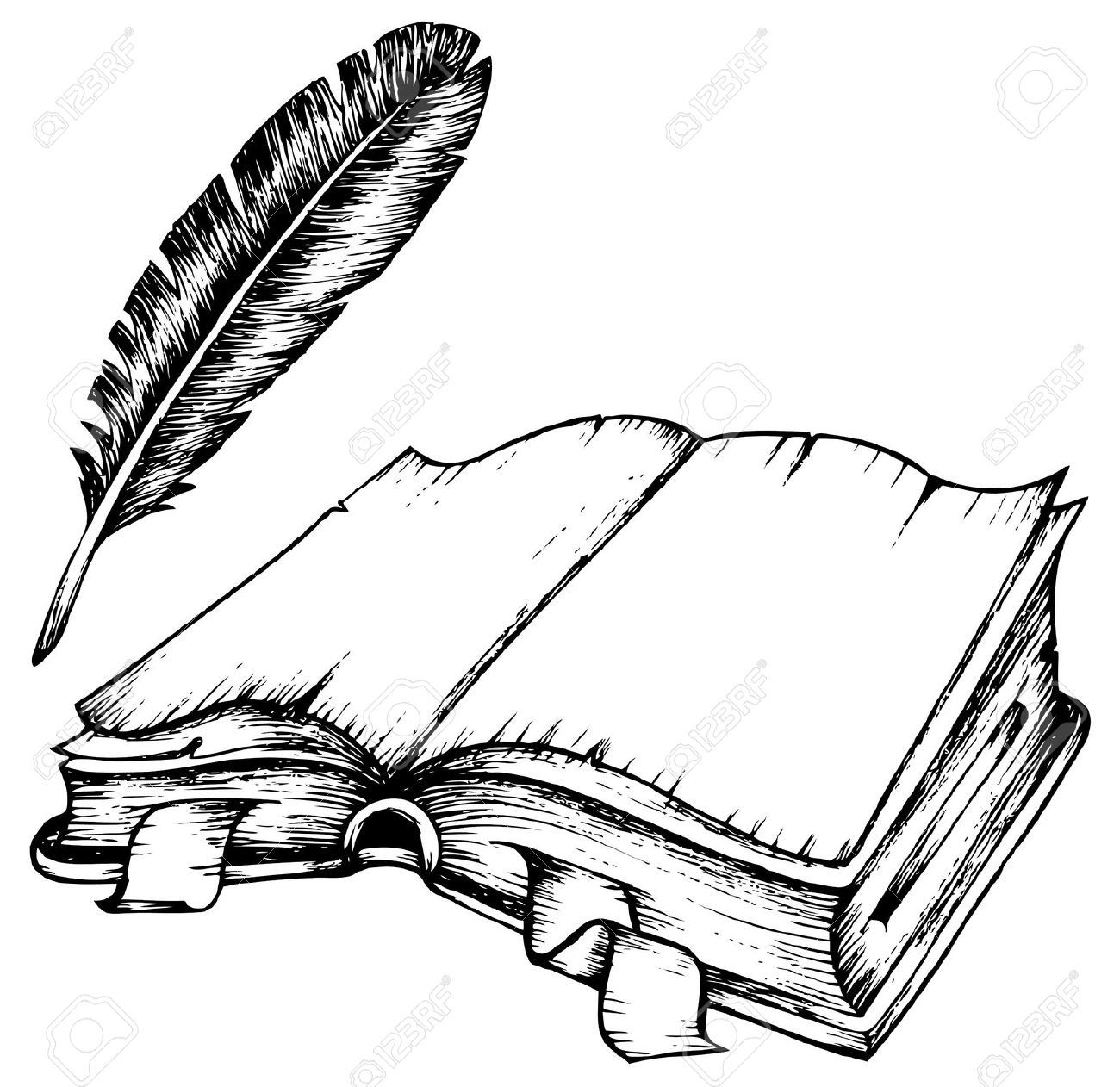 Quill Drawing Of Opened Book With Feather Illustration