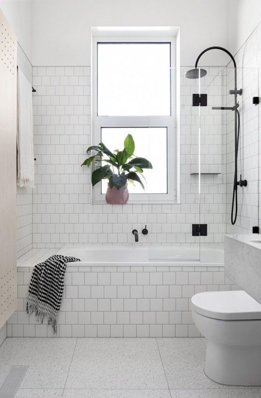 major bathroom inspo love the tiling black shower black hinge on shower dooor floating shelves and all round crisp white look - Bathroom Tub Ideas