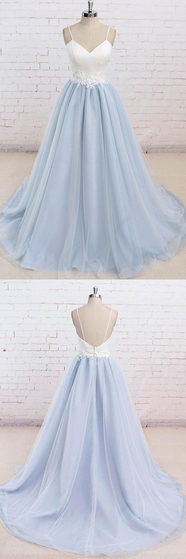 Spaghetti straps sweep train backless light blue tulle prom dress