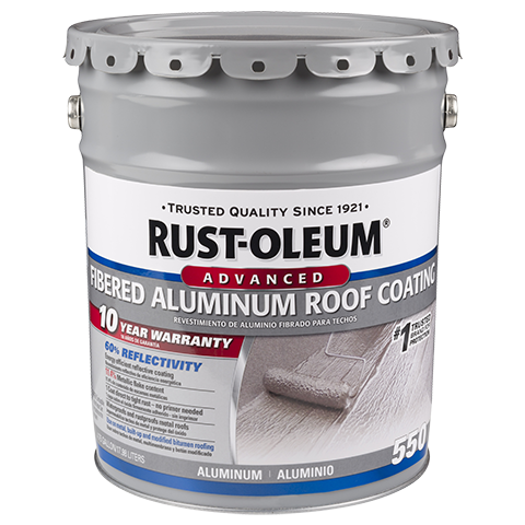 Rust Oleum 10 Year Fibered Aluminum Roof Coating Is A Metallic Pigmented Coating Used For Rust Proofing And Weat Roof Coating Aluminum Roof Metal Roof Coating