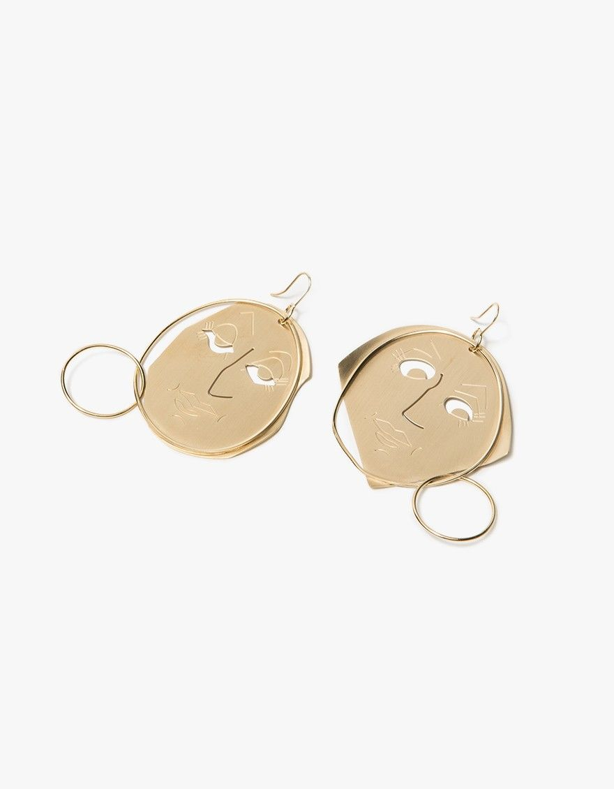 Moon Face Gold-plated Earrings - one size J.W.Anderson