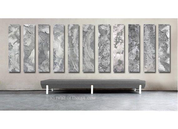 Industrial Metal Wall Art steel abstract paintings / custom 11 painting set / 48x12