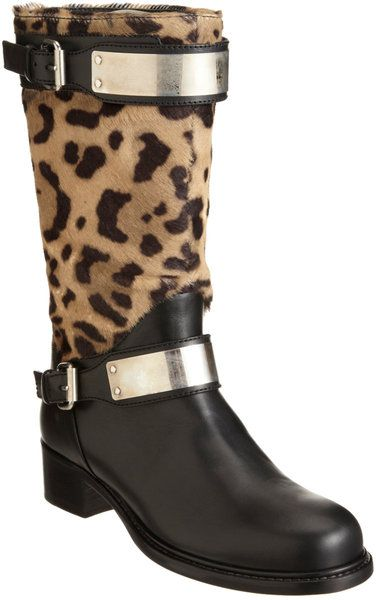 4017de3a567 Giambattista Valli Ponyhair Metalplated Buckle Strap Moto Boot ...