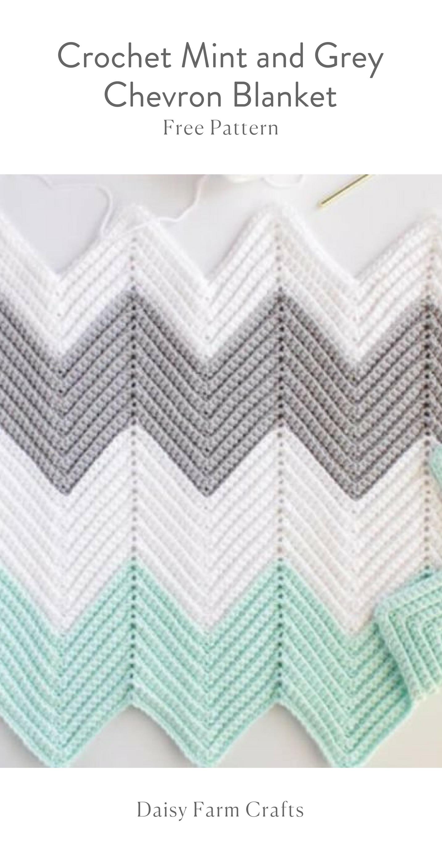 Free Pattern - Crochet Mint and Grey Chevron Blanket | Crochet baby ...