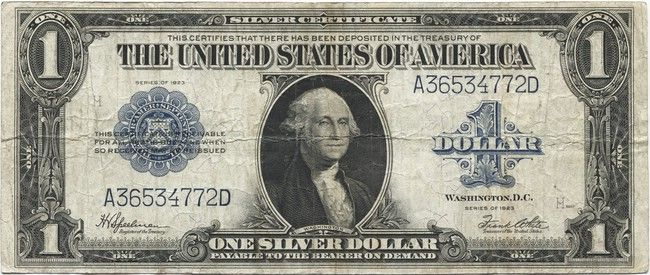 1 Dollar 1923 (Washington) Silver Certificate | Currency | Pinterest ...