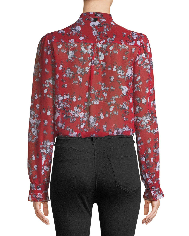 80191c39b4f3ec Rag & Bone Susan Button-Down Floral-Print Silk Blouse | Products ...
