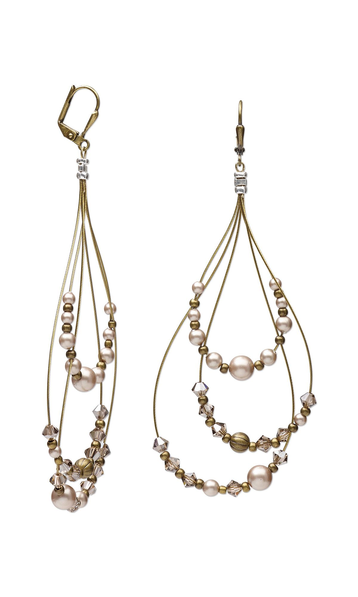 Jewelry Design - Earrings with Swarovski Crystal, Antiqued Gold ...