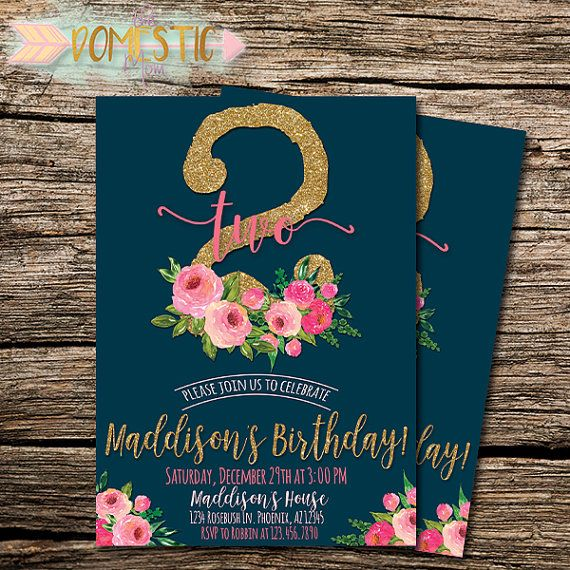 Navy Blue Pink Floral Second Birthday Invitation – Two Year Old Birthday Party Invitations