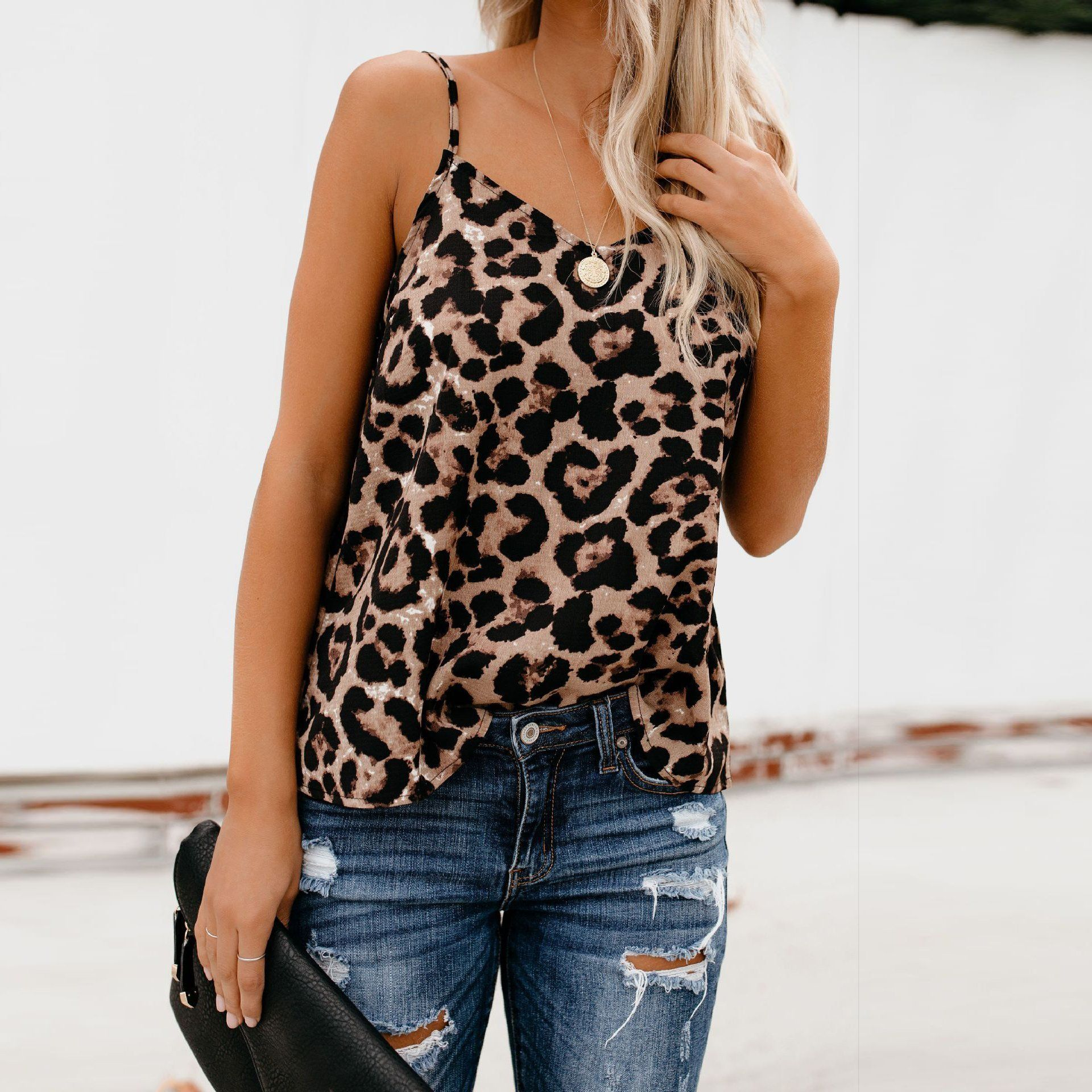 Fashion Casual Leopard Sling Sling Top Fashion, Print