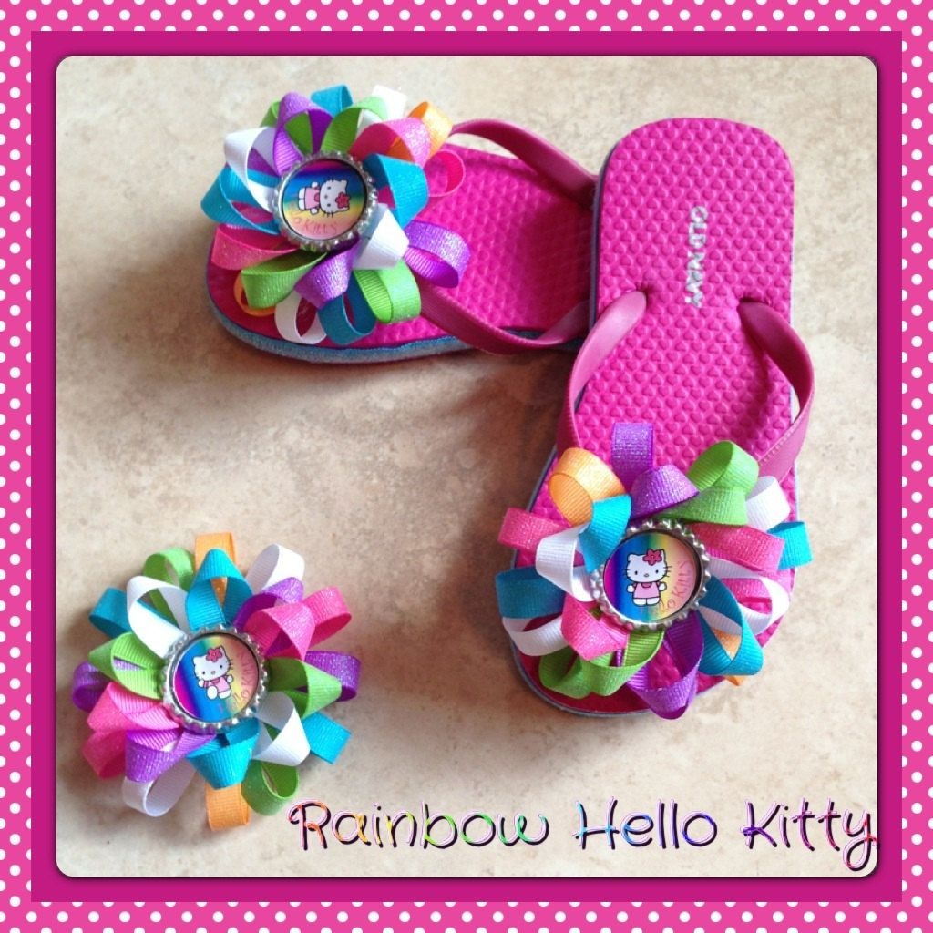 Hello Kitty Flip Flops With Matching Hair Bow By