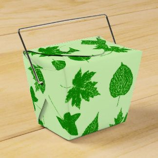 Autumn leaves - emerald and lime green favor box