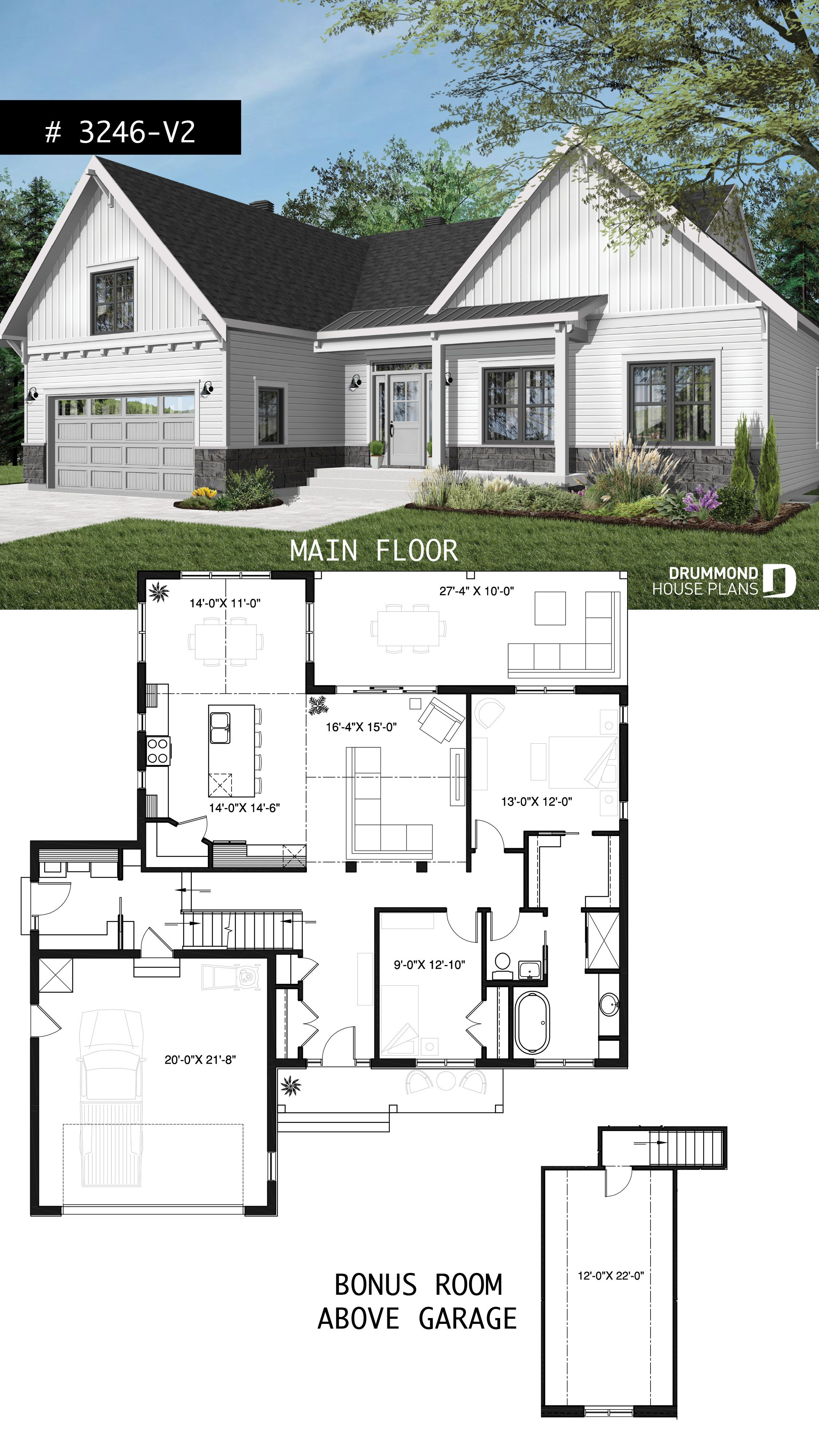 Onestorey ranch house plan with car garage large kitchen with