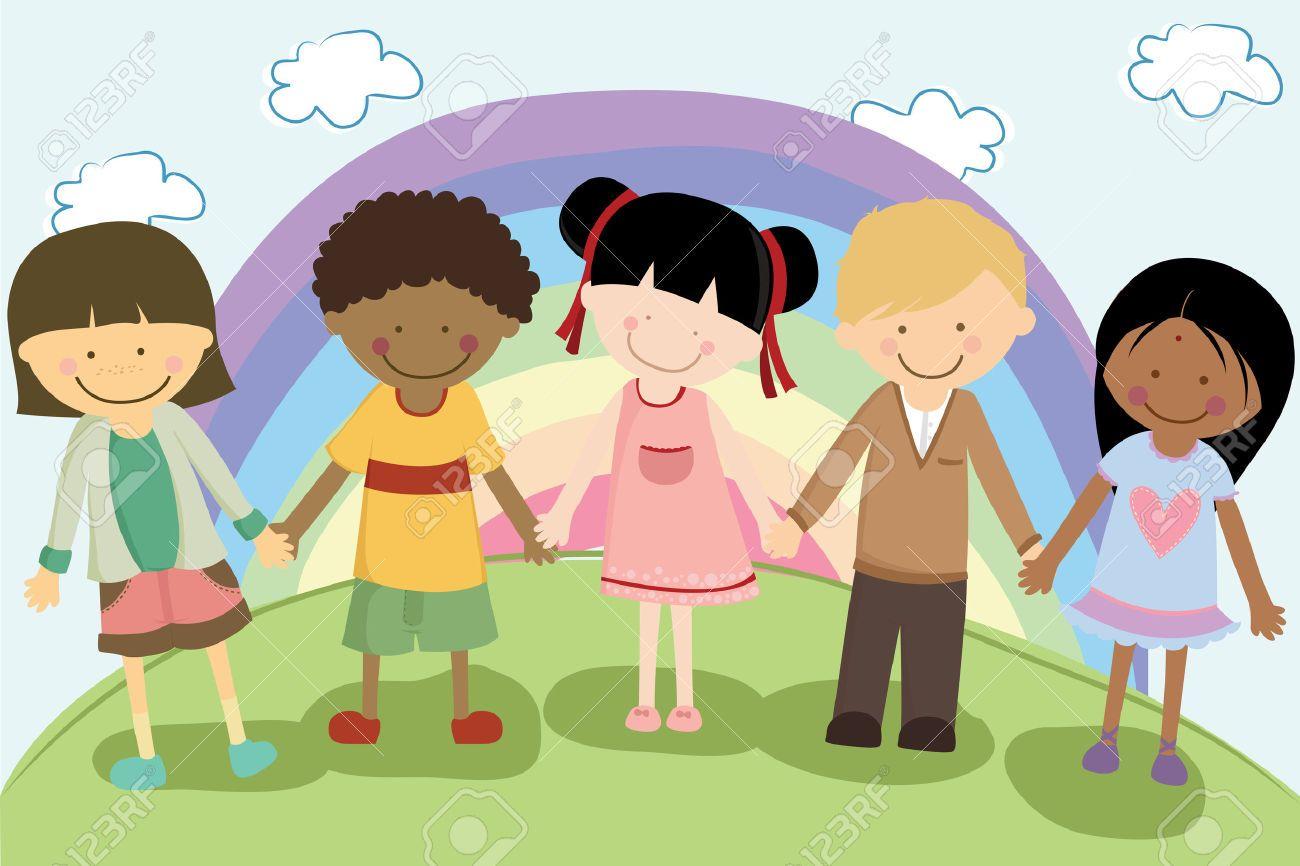 medium resolution of a vector illustration of multi ethnic children holding hands