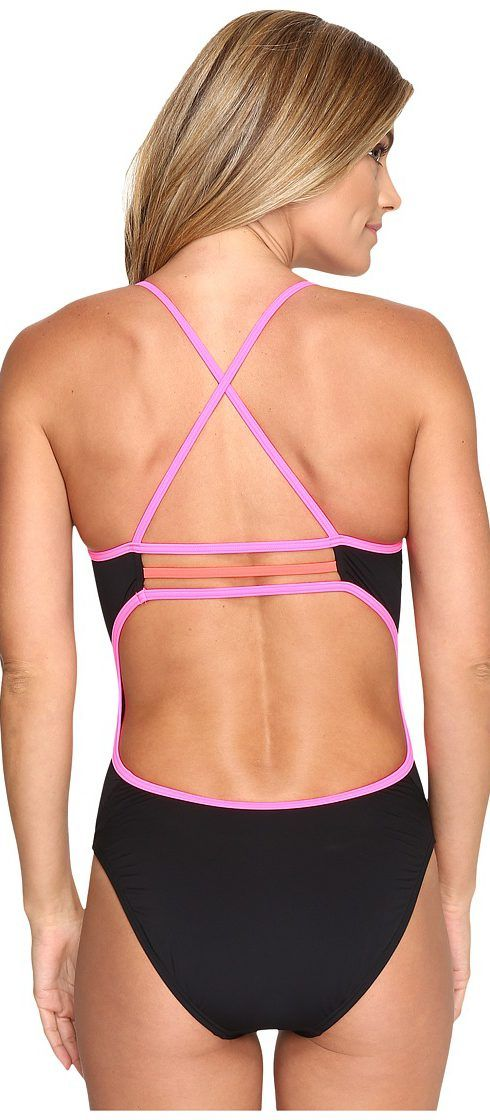 b7384f279099d TYR Solids Brites Trinityfit One-Piece (Black Pink Red) Women s Swimsuits