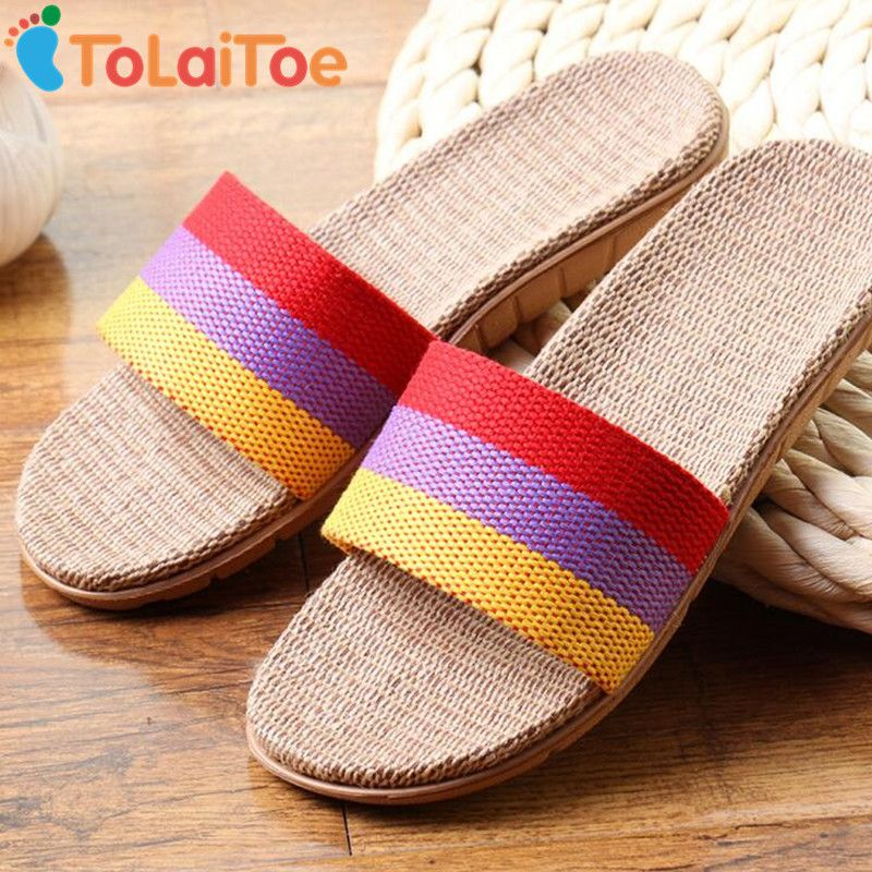 ToLaiToe Women's Fashion Striped 3 Colors New Linen Home Floor Slippers Silent Sweat Slippers For Summer Cool Sandals Shoes