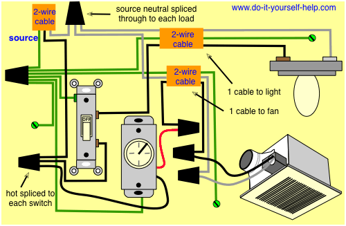 schematic wiring bathroom fan and light
