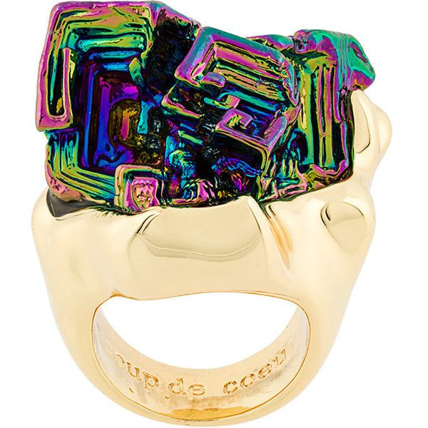 Coup de Coeur Vortex Rainbow Stone ring - Metallic