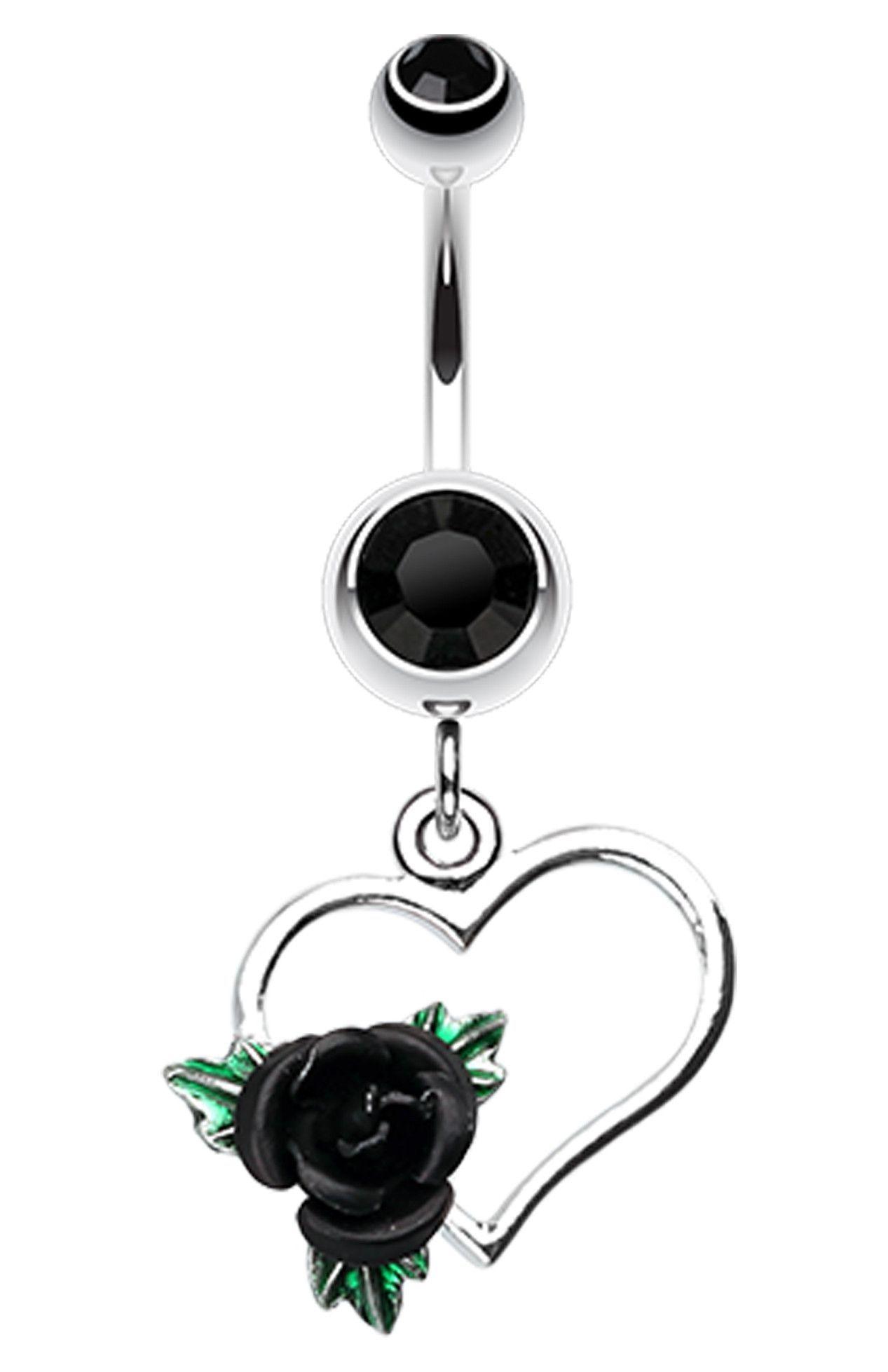 Belly button piercing earrings  Heart Rose Belly Button Ring  Belly button Ring and Piercings