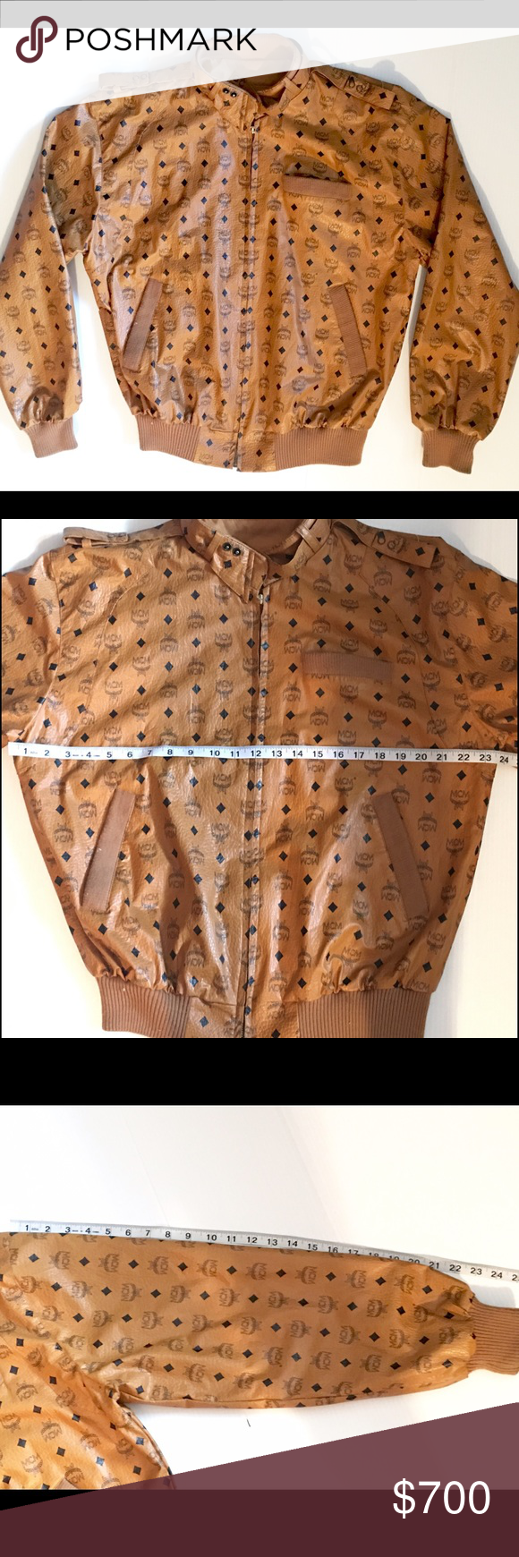 6864badf9 VINTAGE MCM MONOGRAM FAUX LEATHER JACKET MED In good condition. MCM ...