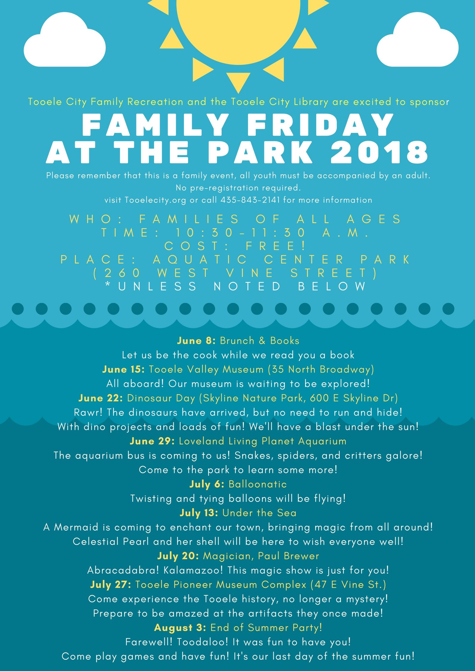 Friday at the Park: Brunch & Books @ Aquatic Center Park | Tooele ...