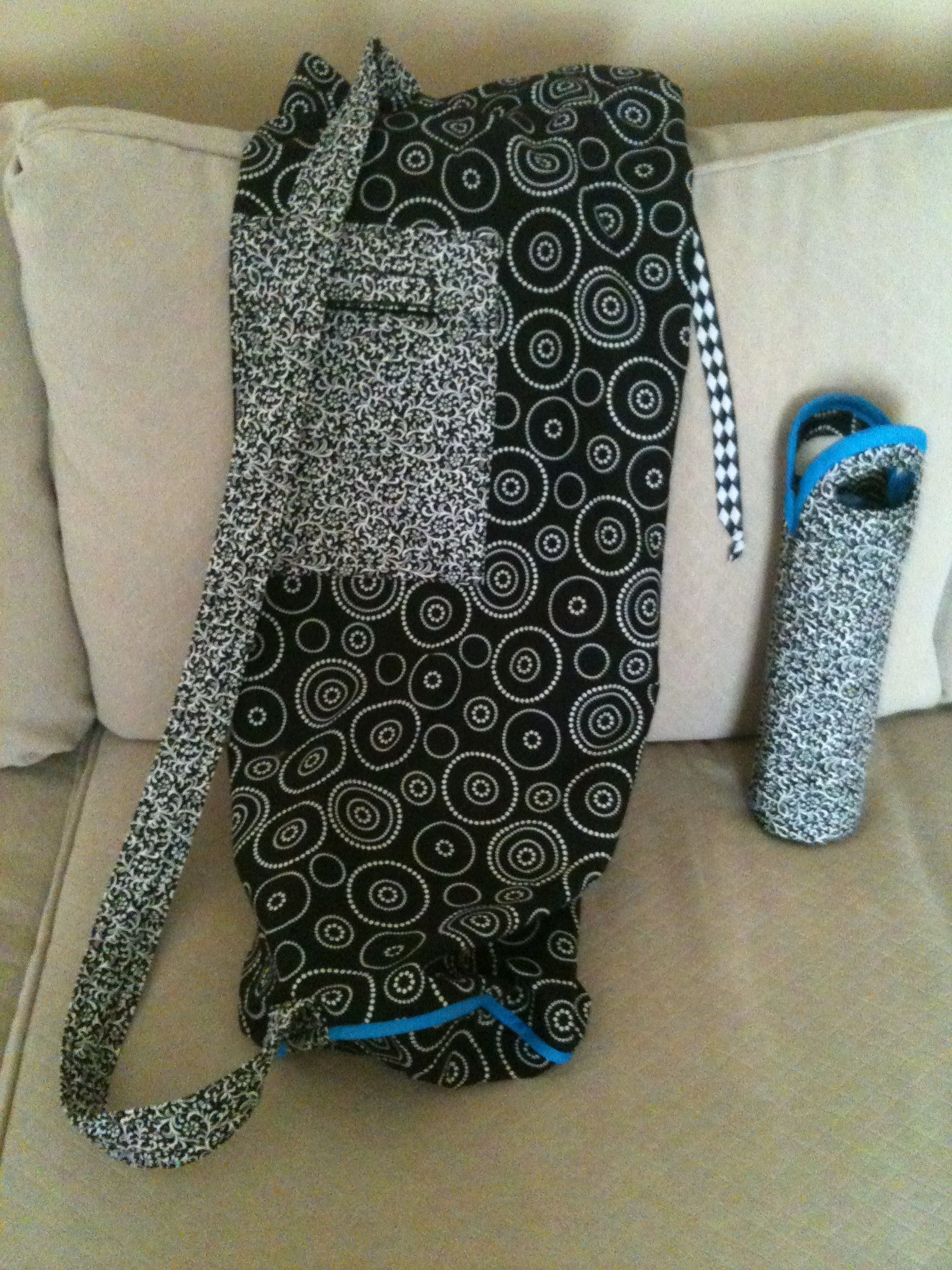 Yoga mat bag and water bottle holder made for a local fundraiser