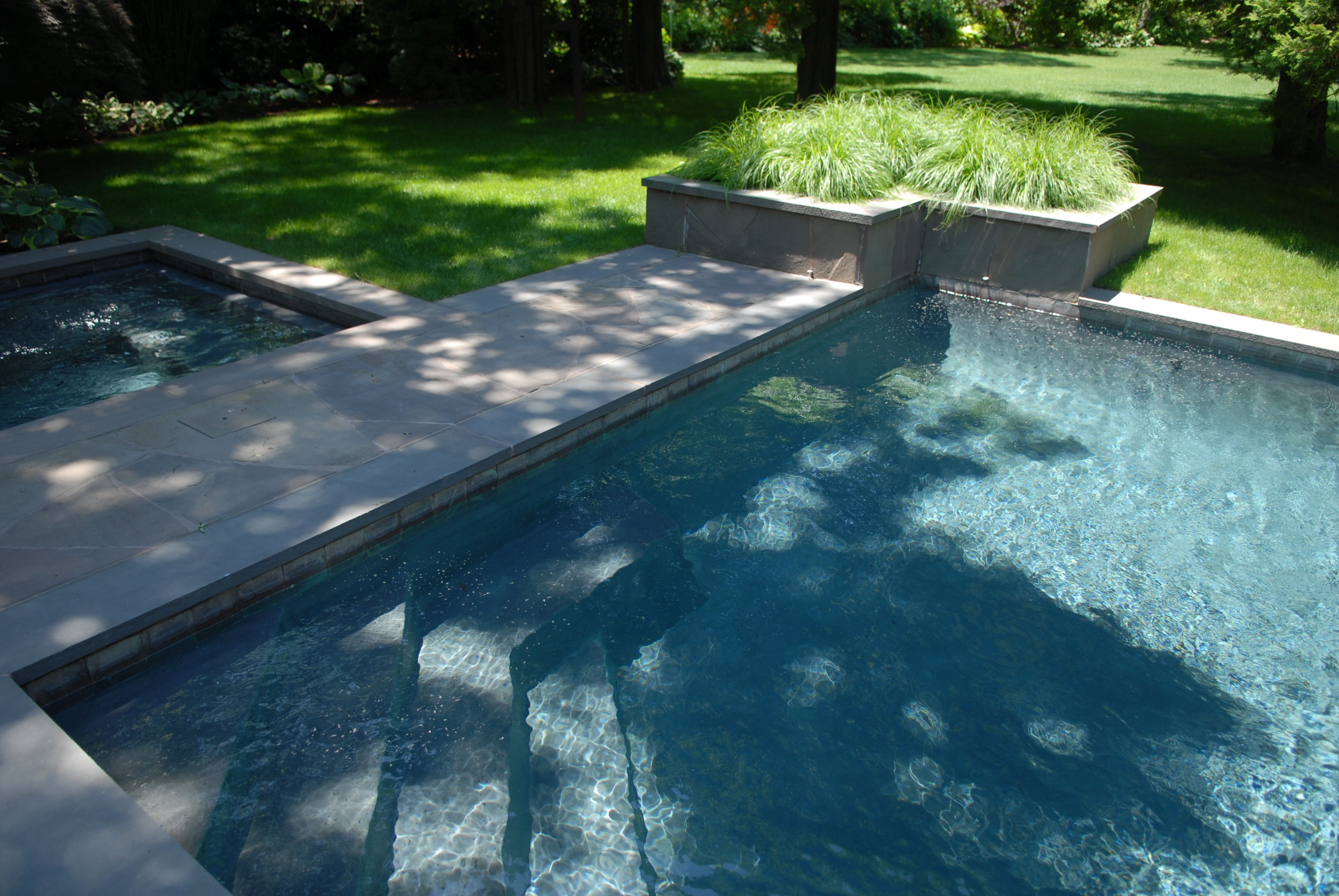 custom built pool steps and benches with adjoining spa pool design steps benches