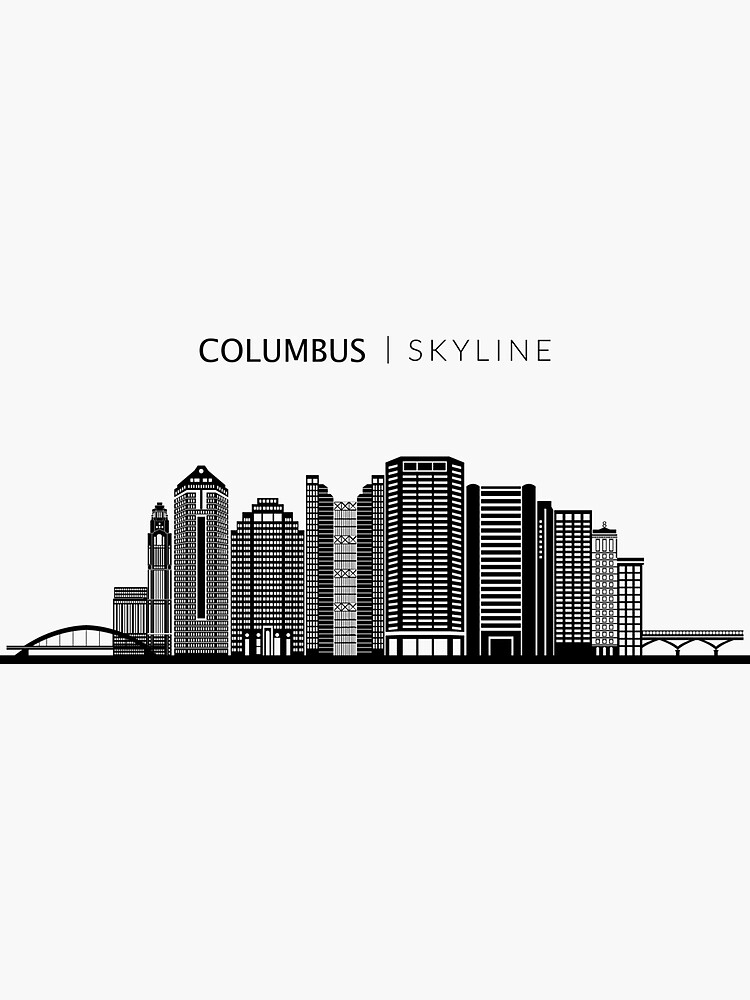Columbus City Skyline Art Sticker By Duxdesign City Skyline Art Skyline Art City Skyline