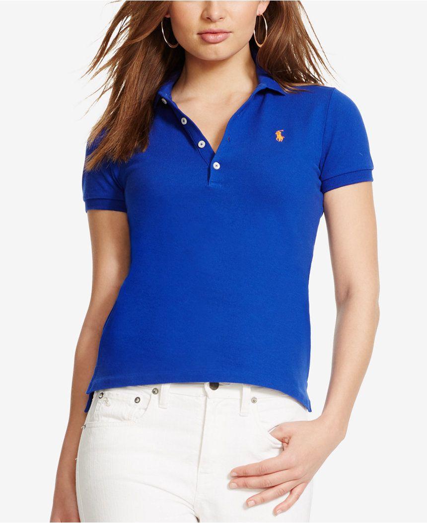 Polo Ralph Lauren Skinny Stretch Polo Shirt - Tops - Women - Macy's
