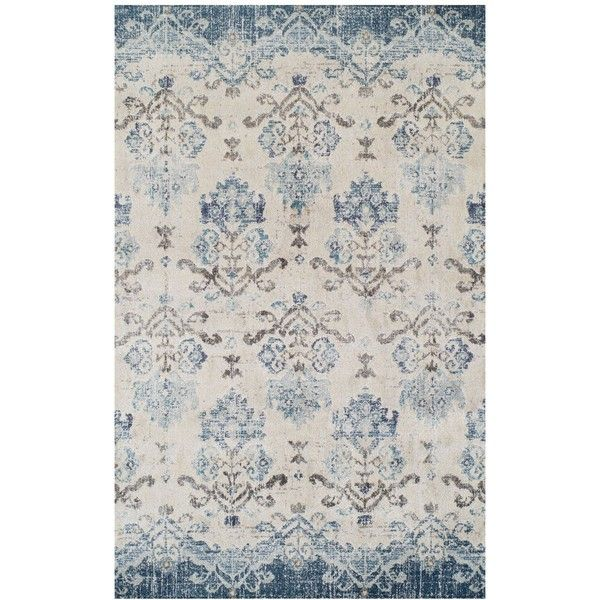 """Dalyn Traveler Bali Blue 3'3"""" x 5'3"""" Area Rug ($119) ❤ liked on Polyvore featuring home, rugs, no color, floral area rugs, dalyn rugs, blue rug, blue floral area rug and floral rug"""