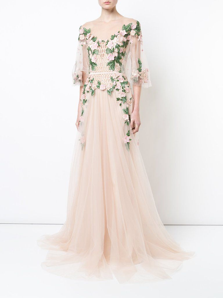 Marchesa notte floral embroidered gown gowns pinterest gowns
